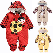 Baby Winter Warm Clothes Cartoon Animal Infant Baby Romper Jumpsuit Hooded Playsuit Toddler Kids Clo