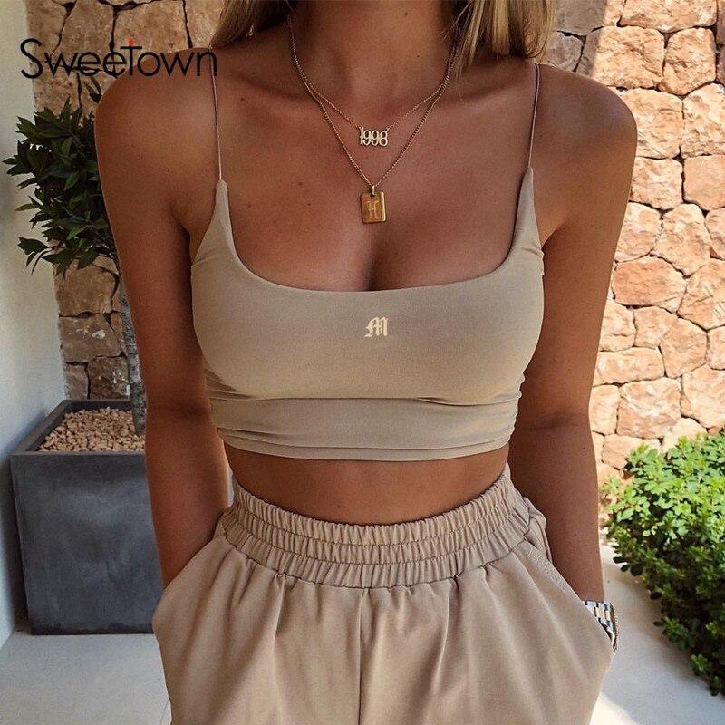 Женский топ без рукавов Sweetown, облегающий укороченный топ без рукавов для фитнеса, уличная одежда, лето 2020