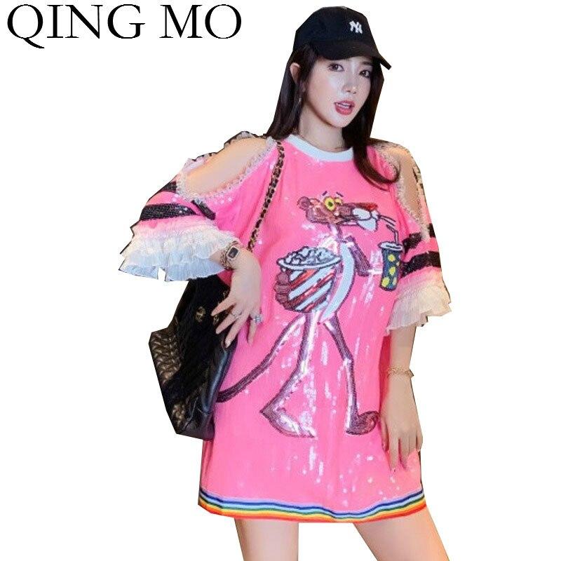 Camiseta de Pantera Rosa para mujer QING MO 2020, camiseta de lentejuelas para mujer, camiseta de manga acampanada con hombros descubiertos ZQY4148