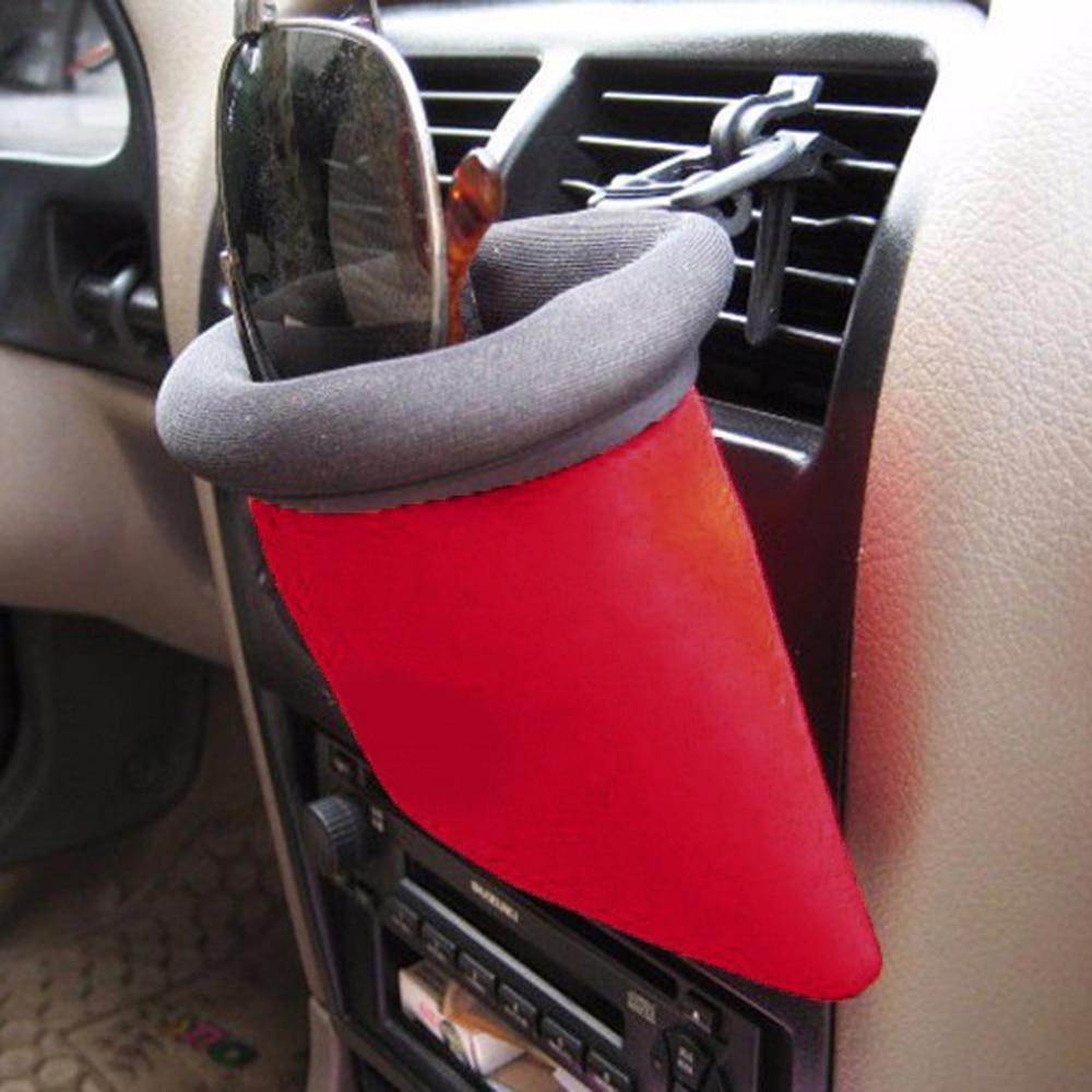 Cell Phone Holder Air Vent Clip Mount Storage Bag Pocket Organizer Oxford Cloth
