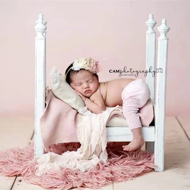Baby Photography Props Wood Retro Bed Newborn Photo Shoot Furniture Fotografie Accessoires Birthday Background Decoration Boy