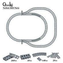 8-24Pcs City Trains Train Flexible Track Rail Straight Curved Rails Building Blocks Bricks Set Toys Compatible with