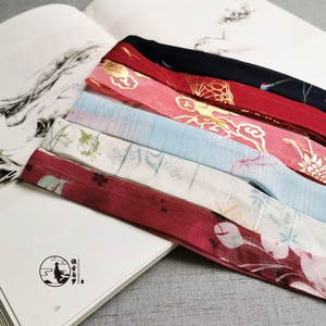 Antique Style Bronze Crane Printed Chiffon Ribbon Multi-color Hair Band Chinese hanfu Ancient Costume Hair Accessories Hair Band