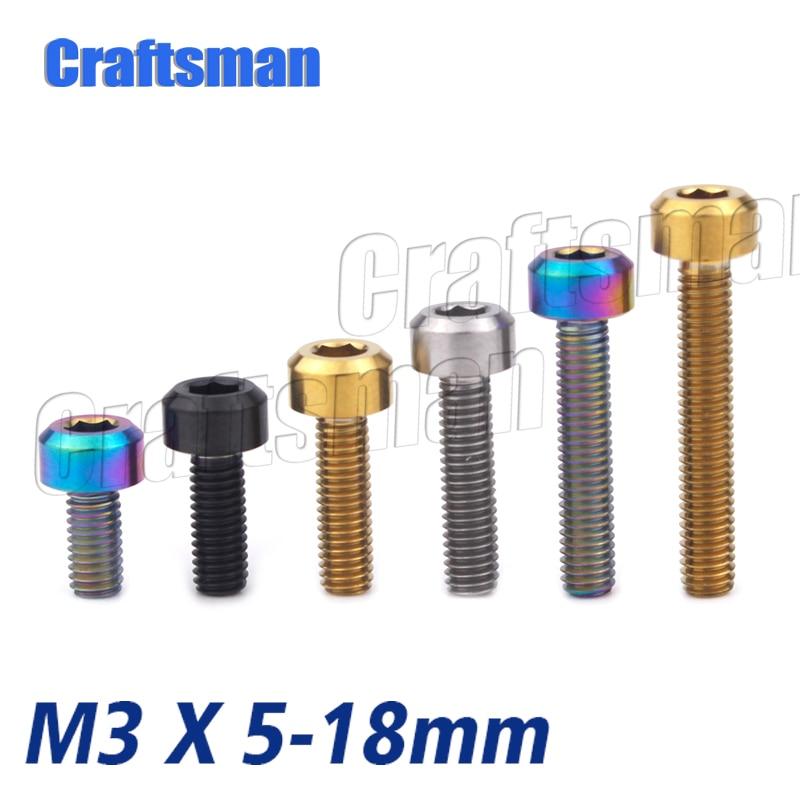 Tornillo de titanio M3 X 6 8 10 12 15 18mm M3 de titanio hexagonal estigma tornillos Ti M3 pequeños pernos de tornillo sujetador Ti 1 Uds