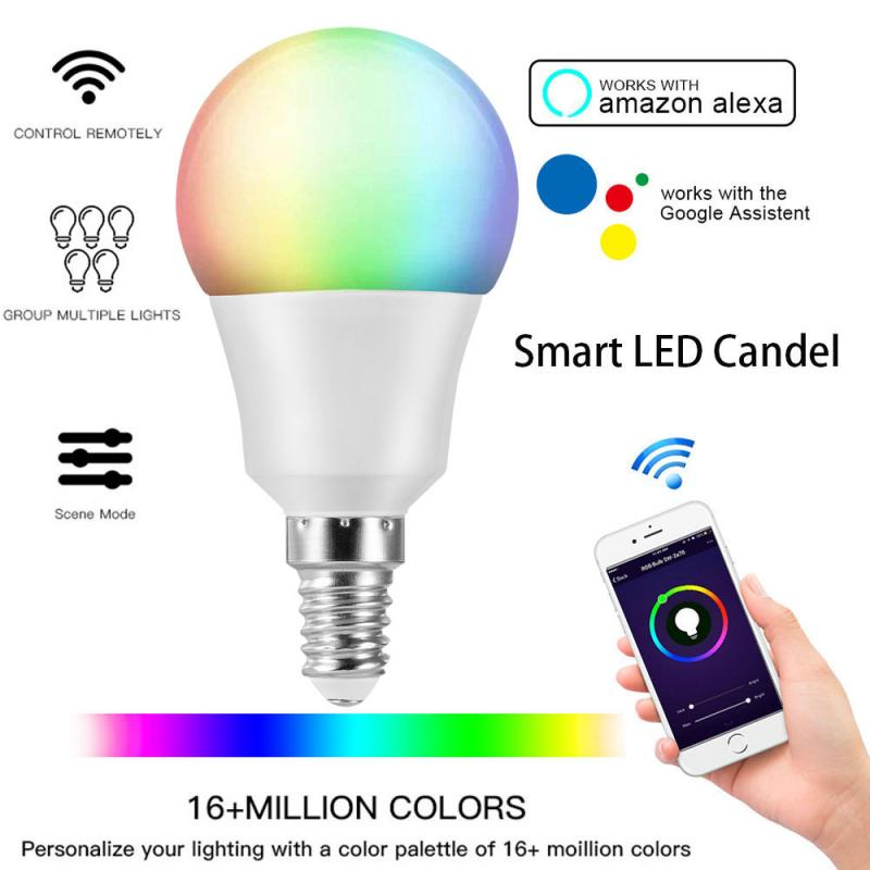Pode ser escurecido e14 wifi inteligente lâmpada led rgb trabalho com alexa google casa de poupança energia lâmpadas led tuya/vida inteligente lâmpada inteligente