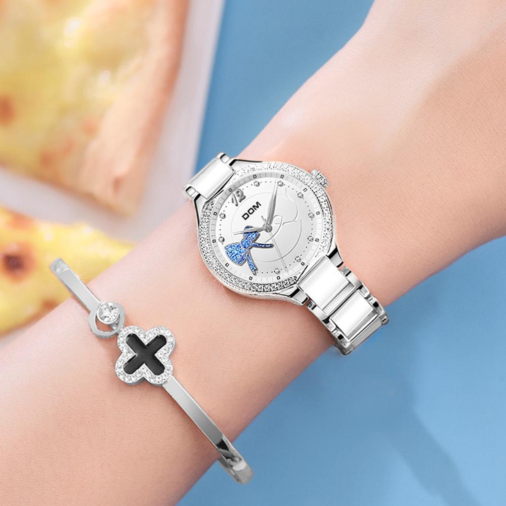 DOM Fashion Women Diamonds Wrist Watches Ceramics Watchband Top Luxury Brand Dress Ladies Geneva Quartz Clock G-1271D-7MH enlarge