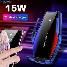 Automatic Clamping 15W Fast Car Wireless Charger สำหรับ Samsung S21 S20 iPhone 13 12 11 XS XR 8อินฟราเรด sensor โทรศัพท์ผู้ถือ Mount