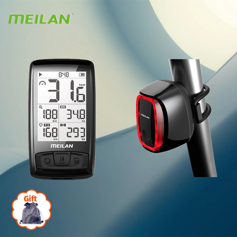 Meilan Waterproof M4 GPS Wireless Navigation Bike Computer X6 Cycling LED Flashlight Bicycle Rear Light MTB Accessories Pieces