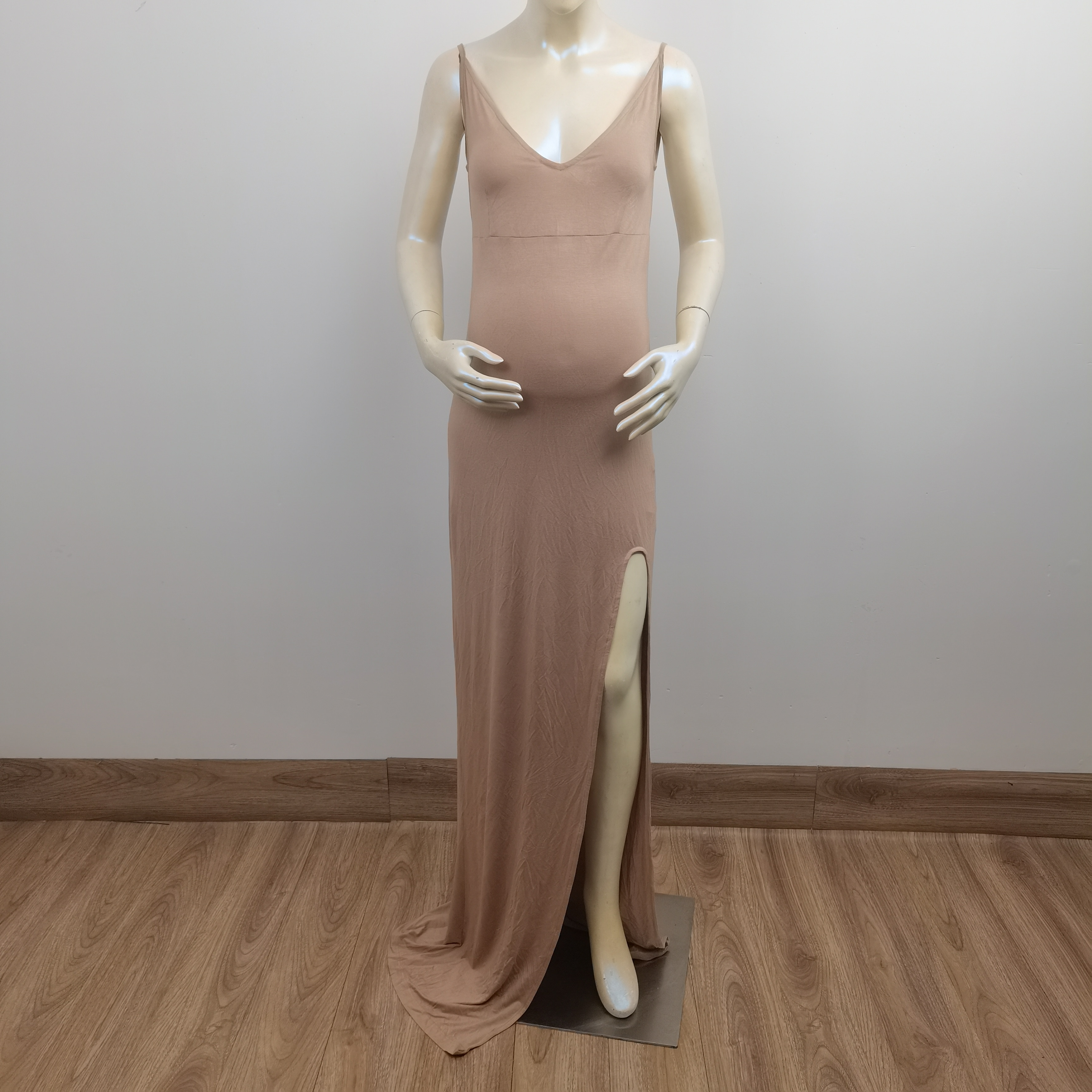 Don&Judy Deep V Neck Slip Maternity Dress Sexy Backless Sleeveless Modal Maternity Gown for Pregnant Women Photography Prop enlarge