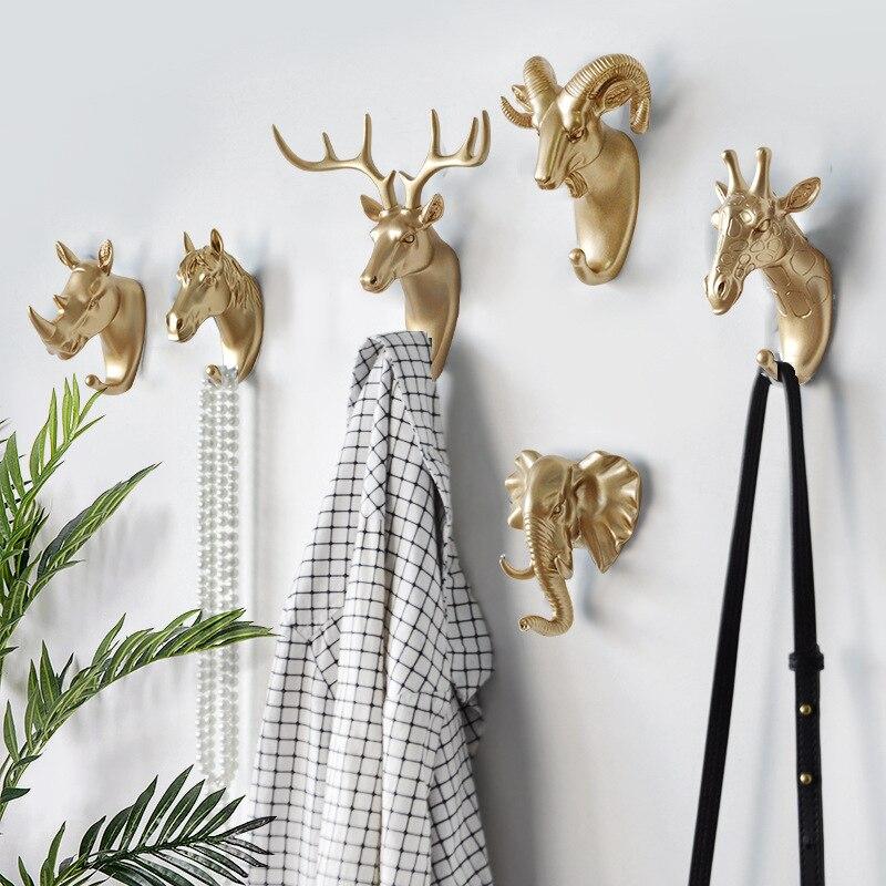 Креативные многофункциональные вешалки в виде животных, рога головы оленя, настенное украшение, крючок для шляпы, шарфа, ключницы, вешалки д...