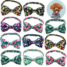 Tropical Wind Print Cat Dog Collar Holiday Puppy Bow Tie Adjustable Neck Strap Cat Dog Grooming Acce