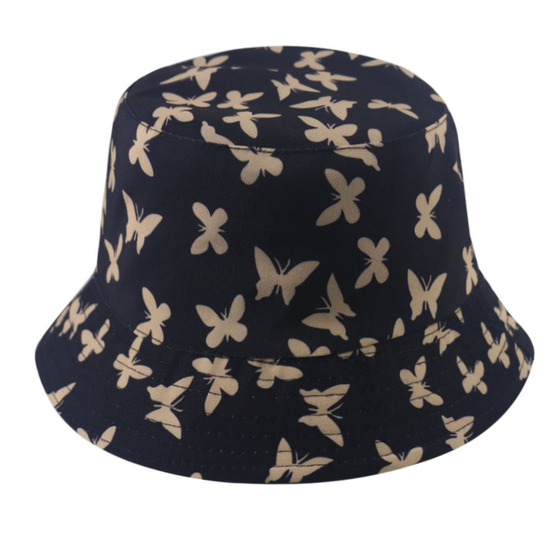Trendy Butterfly Print Women's Bucket Hat Casual Versatile Foldable Double-Sided Wearable For Summer Outings Sunscreen Visor Hat