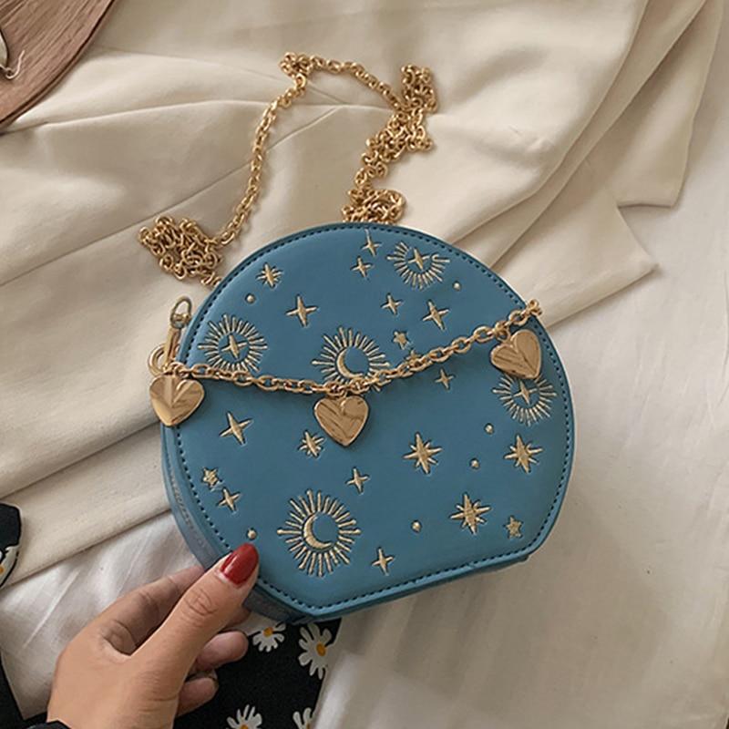 Fashion Starry Sky Round Bags Women Crossbody Bag Luxury Chain Circular Shoulder Bag Lady Small Embroidery Women's Handbag 2020