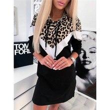 Femmes léopard à capuche sweat robe élégant à manches longues automne hiver pull haut Dames mode Dames en vrac Streetwear