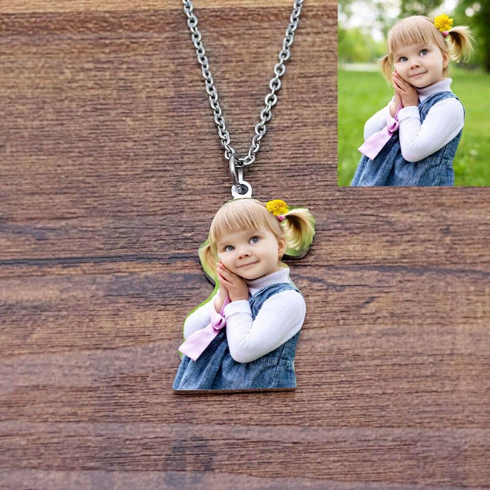 Персонализированное ожерелье с фото, подарок на день матери, подарок бабушке, индивидуальное гравировочное ожерелье с фото, подарок для мам...