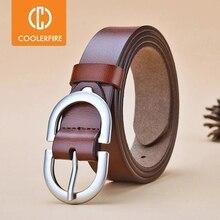 Women's Belt Genuine Leather ladies fashion metal round buckle belt jeans wild luxury brand belts fo
