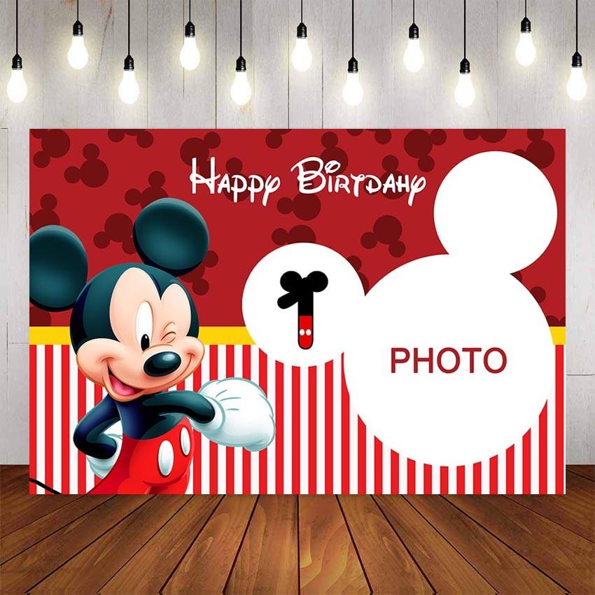 Пользовательские фотографии фоны желтый красный тема Микки фон для мальчиков день рождения декоративный фон для фотостудии баннер