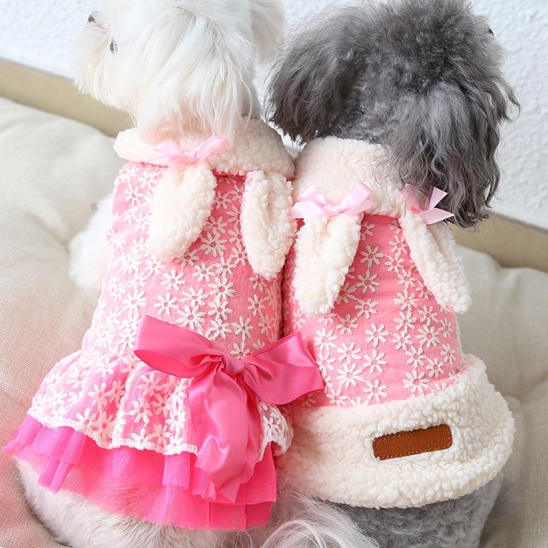 Vêtements dhiver en dentelle pour chiens   Mignons manteau féminin, Sherpa pour animaux domestiques, veste en molleton de lapin pour petits chiens, manteau en fourrure à nœud en Satin pour chiens, rose