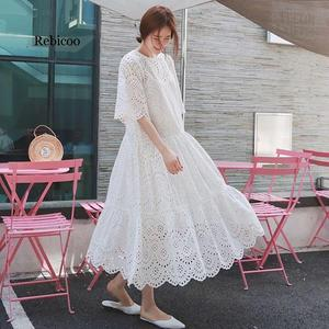 Summer Women Maxi Tunic Dress Short Sleeve White Lace Long Beach Dress Vocation Holiday Clothes