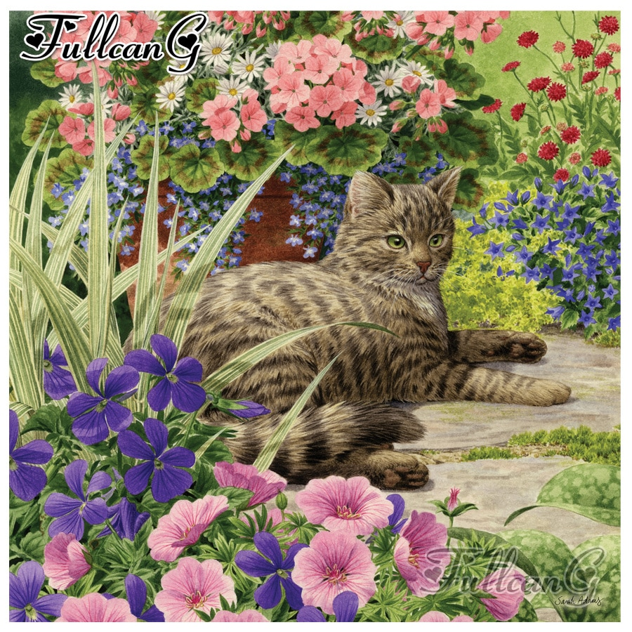 FULLCANG diy full square/round diamond painting cat and flower 5d diamond mazayka embroidery lazy summer days wall decor FC1913