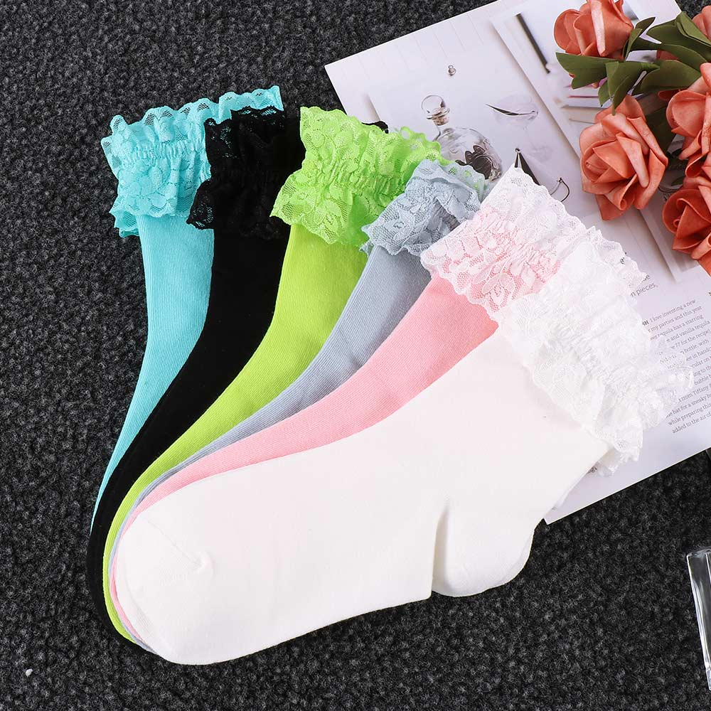 AliExpress - 2020 Fashion Vintage Lace Ruffle Frilly Ankle Socks Ladies Princess Girl Favorite Solid 6 Color Available Cotton Socks