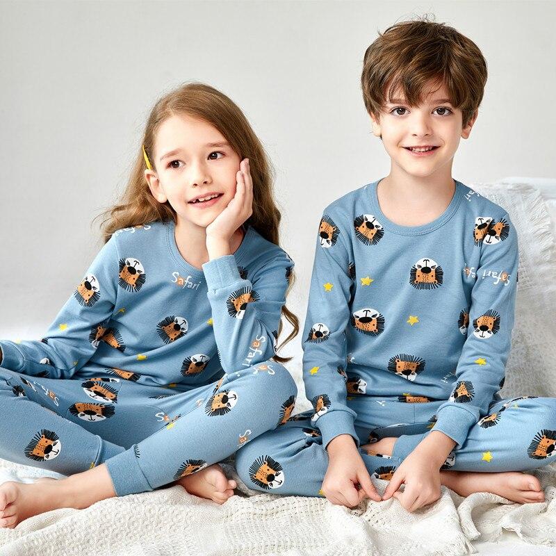 Algodão puro dos desenhos animados crianças pijamas conjuntos novos crianças pijamas crianças mario unicórnio outono roupas pijamas para meninos e meninas 2-8years