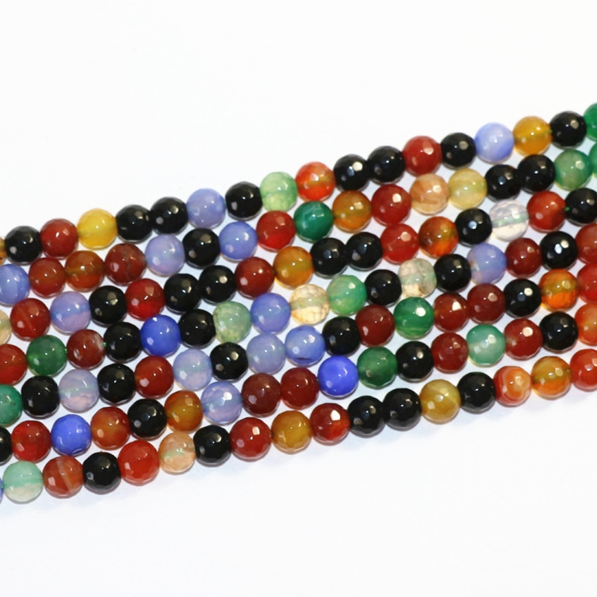 Carnelian Natural Round Mixed Color Faceted Agates Beads For Jewelry Making 4 6 8 10 12mm 15inches D