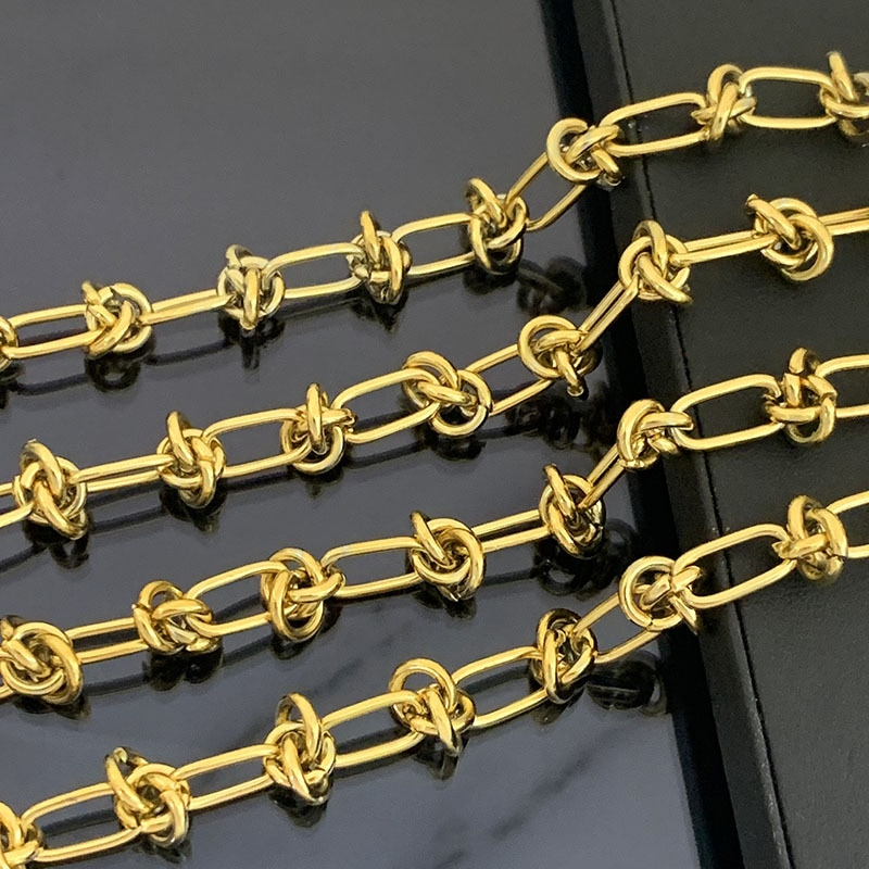 Stainless Steel Knotted Chain For Jewelry Making Gold/Silver Metal Chunky Duty Chains By Meter Wholesale 2M