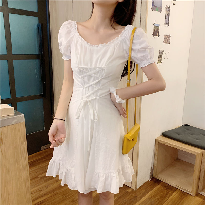 QWEEK Summer White Puff Sleeve Dress 2021 French Ruffle Bandage Wrap Mini Dress Party Birthday Short Elegant Dresses for Women