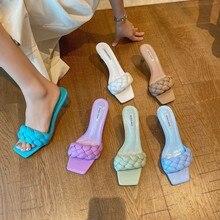 2020 corée Style nouveau été torsion tricot femmes pantoufle et sandales un mot Sllide sandales à talons hauts femmes pantoufles