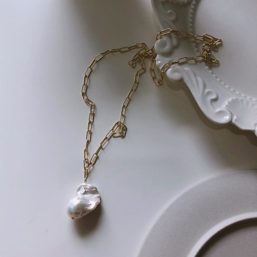 Collar de perlas barrocas chapadas en oro de 18K, collar de perlas de agua dulce de plata auténtica 925 TLX858