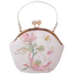 Angelatracy 2019 Chegada Nova Lotus Floral pu novo Bordado Hanfu Cheongsam Fresco Armação De Metal Corrente de Ouro Saco Do Mensageiro Sacos de Mão