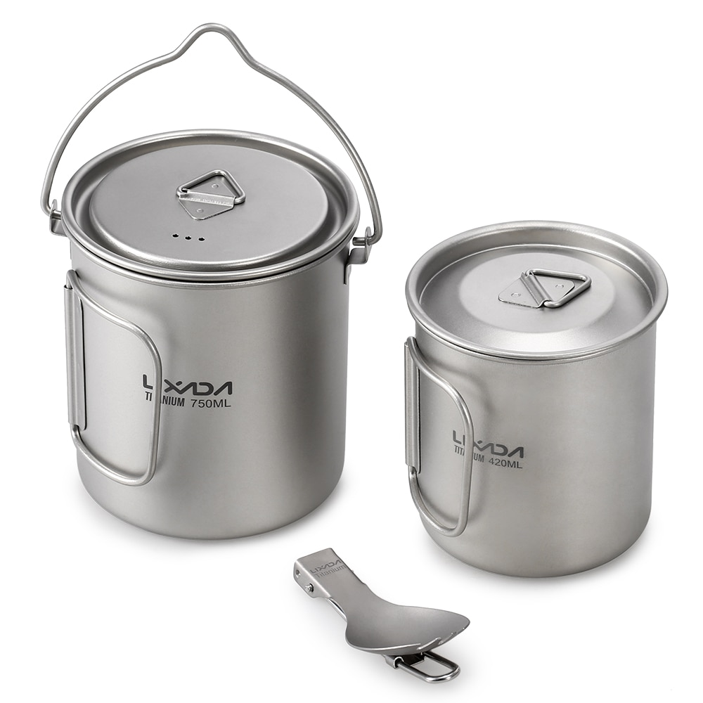 Lixada Camping Cookware Utensils Titanium 750ml Pot 420ml Water Cup Mug with Handle Folding Spork for Camping Picnic Backpacking