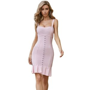 Spaghetti Strap O Neck Knee Length Newest Summer Style Sexy Lady Best Quality hl Pink Bandage Dresses