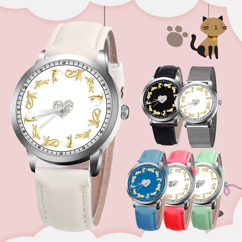 Simple Ladies Cheap Watches Alloy/PU Leather Strap Quartz Wrist Watches Students Cat Cartoon Watch Girl Birthday Gift TC21