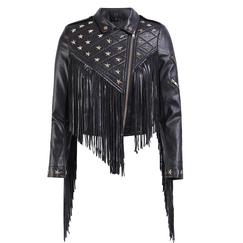 2021 New Women Biker Leather Jacket Tassels  Female PU Leather Nail Star Short Fold-down Collar Zipper Fringed Punk Coats