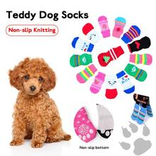 2 Pairs Non-slip Knitted Pet Socks Teddy Dog ​​Socks Dog Pet Wool Socks Cat Shoes Pet Supplies S