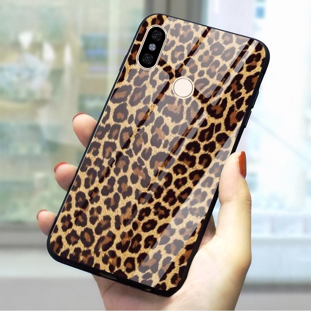 Leopardo Tigre Coque teléfono caso para teléfono móvil F1 funda de vidrio templado Mi A1 A2 8 Lite 9 rojo mi 4X 6A Note5/6/7 Pro