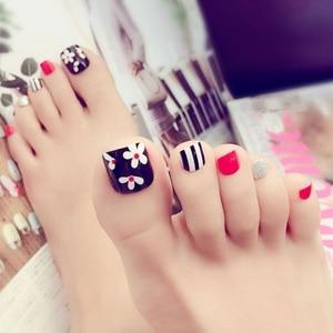 24pcs Artificial Fake Toe Nails Flower False Nail Tips For Summer Holiday J31 896D