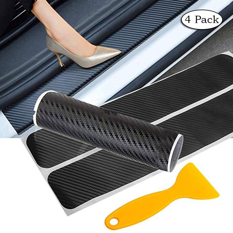 4 шт. наклейки на пороги автомобиля из углеродного волокна, защита от царапин, автомобильные аксессуары для настройки Ford Focus 2 3 1 MK2 MK3 MK1