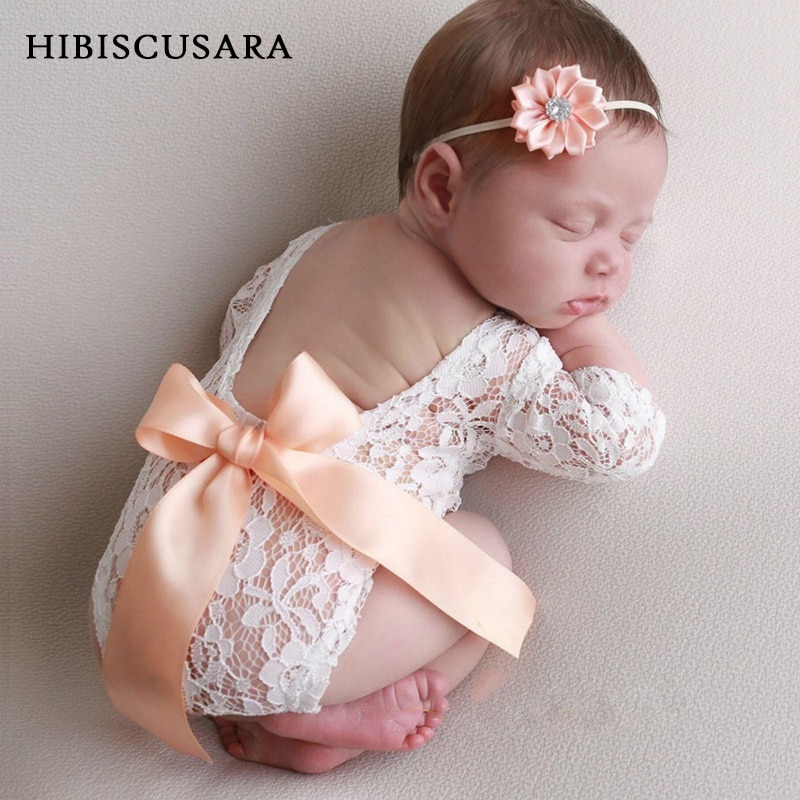 Newborn Baby Lace Romper Big Ribbon Bowknot Infant Girl Lace Photography Clothes Bodysuit With Headb