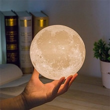 Creative Moon Night Light For Desktop USB Charging And Touch Control Brightness 3D Printed Warm And
