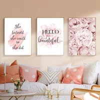pink peony hd poster nordic style fashion famous quotes wall painting oil painting modern girl room home decoration frameless