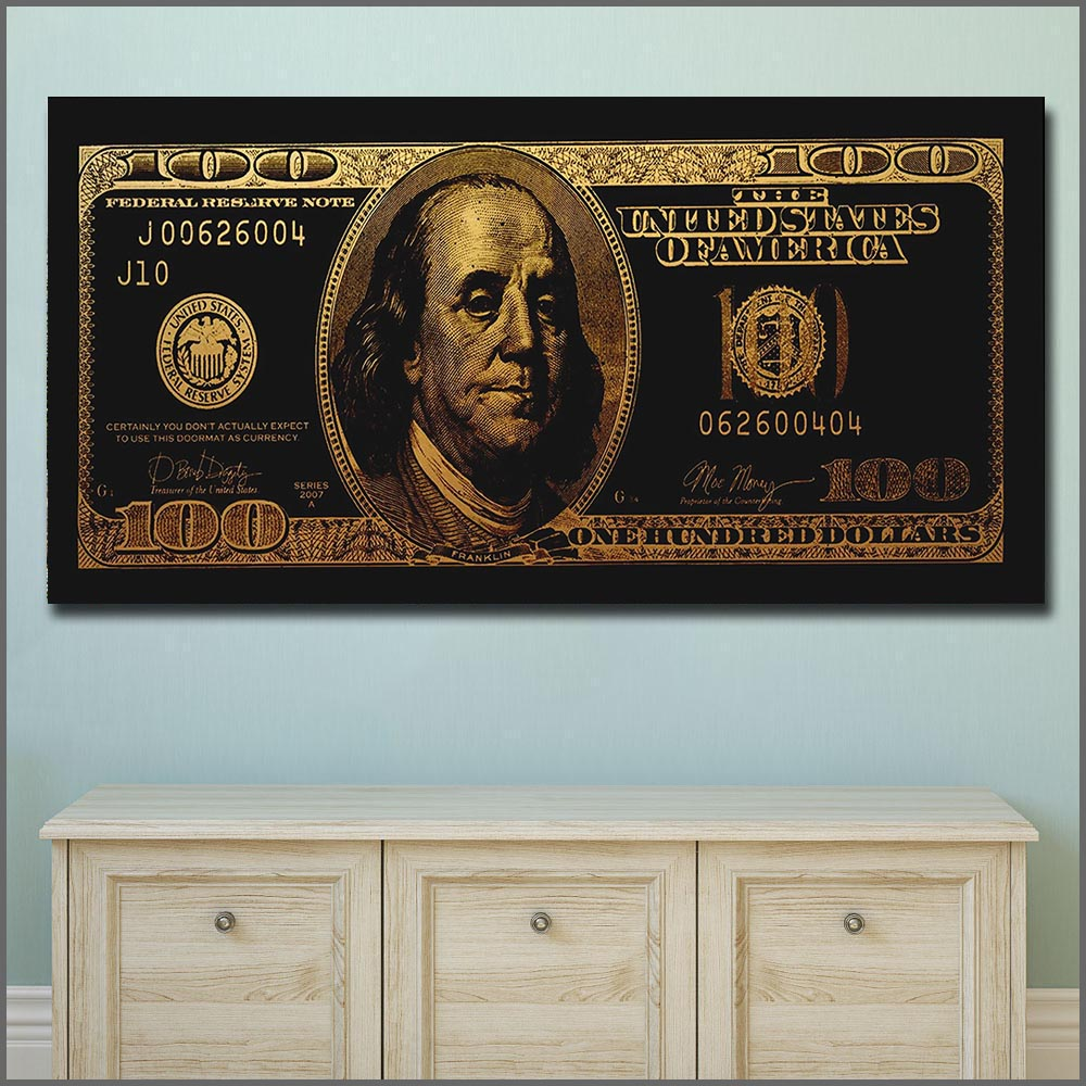 Money Abstract High Definition Posters Canvas Artwork Dollars Painting Wall Art Canvas Wall Picture for Home Decoration Unframed