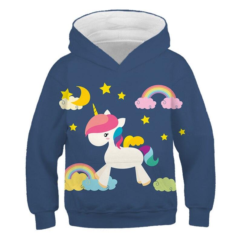 Sudadera para niños anime unicornio sudadera con capucha impresa es 3D 4-16...