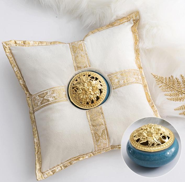 Quemador de incienso cerámico de lujo de Oriente Medio, cojín creativo de soporte de incensario dorado, accesorios de Yoga para casa del té, decoración del hogar