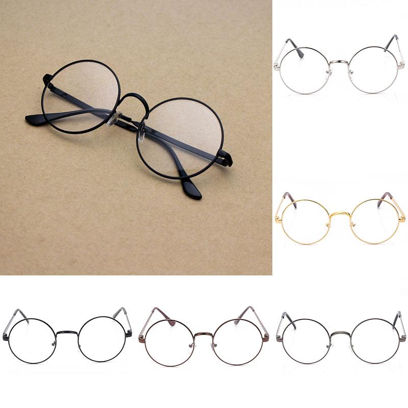 Oversized círculo óculos de olho moda vintage retro metal moldura clara lente óculos nerd geek eyewear