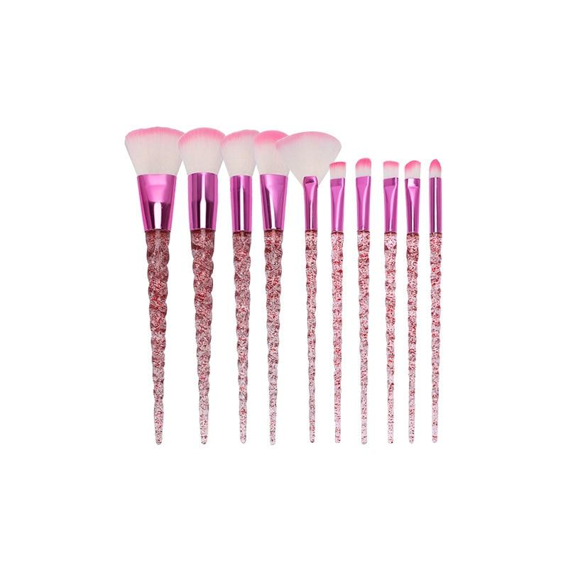 Brocha de maquillaje con diseño de diamante, 10 Uds., base en polvo, colorete, mezcla de sombras de ojos, labios, cosmética, belleza profesional
