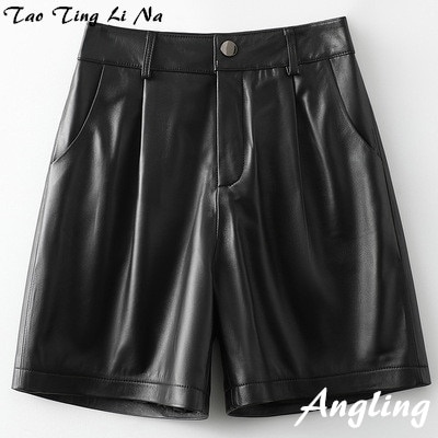 2021 Women New Genuine Real Sheep Leather Shorts H46