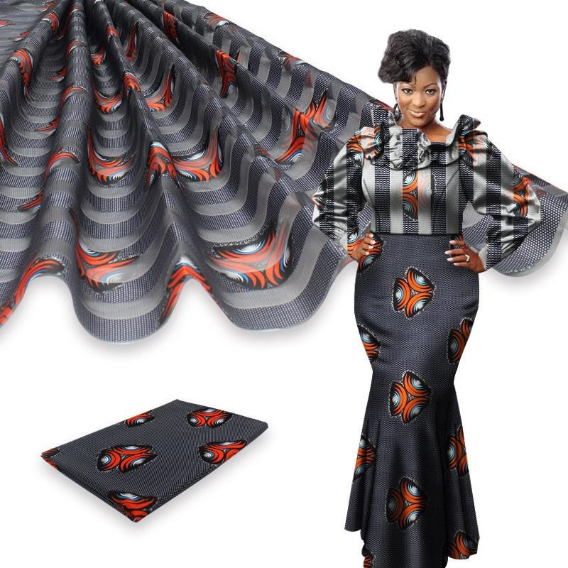Ruban africain en cire de soie ankara 2020   Tissu satin 4 yards, audel/modell, tissu en coton pour robe + mousseline de soie de 2 yards YBG011903